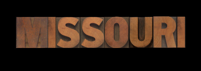 the word Missouri in old letterpress wood type