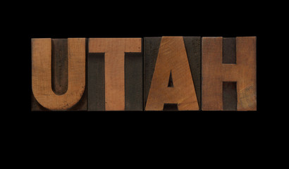 the word Utah in old letterpress wood type