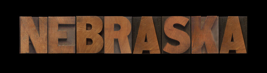 the word Nebraska in old letterpress wood type