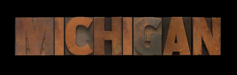 the word Michigan in old letterpress wood type
