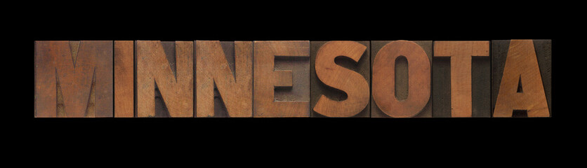 the word Minnesota in old letterpress wood type