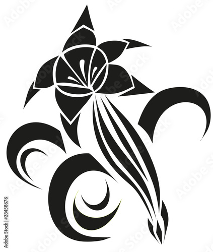 Vectoriel Floral Silhouette Element For Design Vector Tattoo Picture
