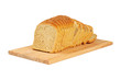 Sliced bread on wooden board