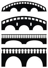 Vector set of ancient stone bridge black silhouettes