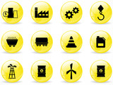 Glossy web buttons, energy and industry icons