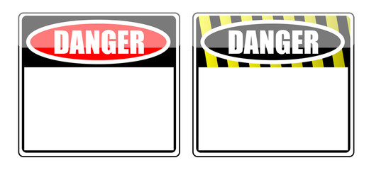 Danger Blank signs isolated over a white background