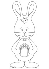 Rabbit with a gift, contour
