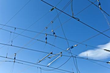 catenary with blue sky