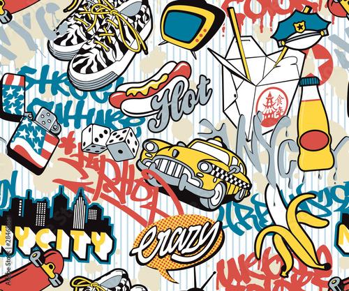 N.Y. city, urban elements seamless collage