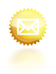 eMail brief kontakt button glossy gelb sternform