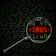 Computer Virus, magnifying glass