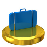 Suitcase on gold podium