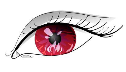 Occhio rosso col fuoco dentro