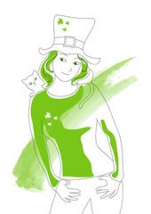 Immagine di donna vestita per la festa di San Patrizio