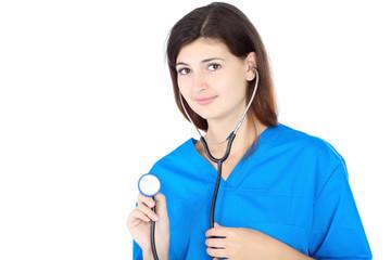 happy cute nurse in blue uniform