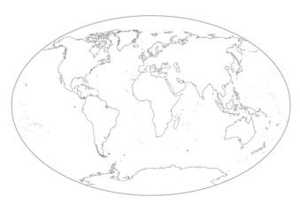Mappa del mondo in bianco e nero vuota