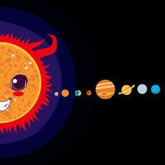 Sun cartoon with Solar system planets sorted in line