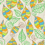 Whimsical seamless pattern on leaves theme