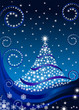 Tree blue star background