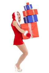 santa girl overloaded with packages