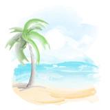 Fototapety beach and sea watercolor