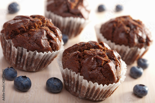 chocolated muffins with blueberry