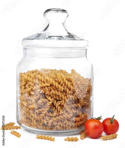 raw pasta in jar isolated
