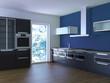 Küche Rendering 3d schwarz blau