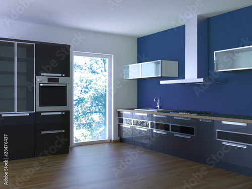 GamesAgeddon - Küche Rendering 3d schwarz blau - Lizenzfreie Fotos ...