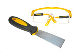 Putty Knife And A Worker Goggles poster