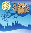 Cute flying owl in snowy landscape
