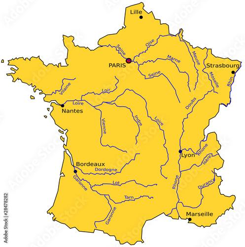 Vecteur : carte des rivières de france