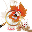Valentine's day, illustration with hearts and ladybug on leaf