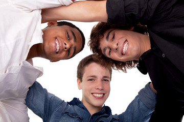 three young man of different colors