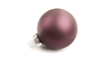One red christmas ball isolated on white background