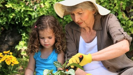 Grandmother and granddaughter gardening