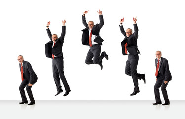 sequence of jumping senior business man