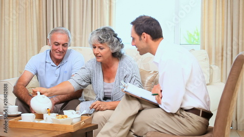 Seniors talking with a seller