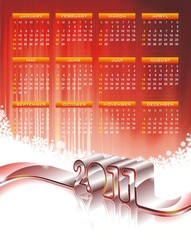 Vector calendar design 2011 on red background.