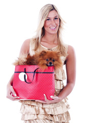 Young woman and her Pomeranian