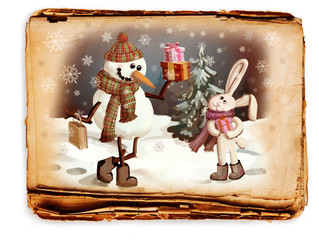 snowman and a rabbit, a picture in retro style
