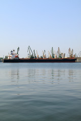 Cargo ship moored in port