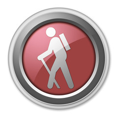 "Red 3D Style Button ""Hiking"""