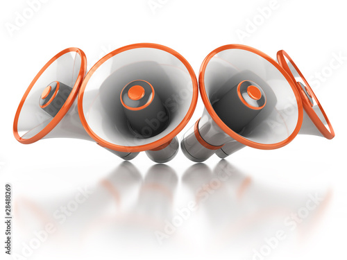 megaphones isolated on white background 3d illustration