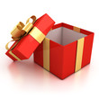 open red present box with golden ribbon