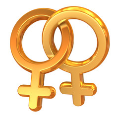 two female symbols crossed representing gay relationship