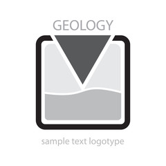 Logo geologist. Search of mineral # Vector