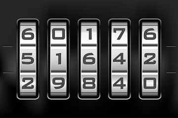 Combination lock - number code. Vector file.