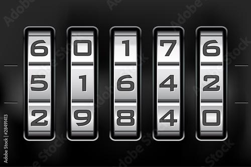 Combination lock - number code. Vector file.