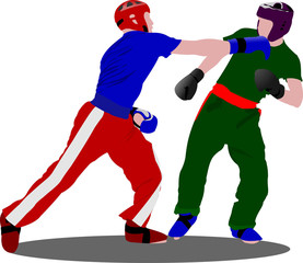 Kickboxing. The sportsman in a position. Oriental combat sports.